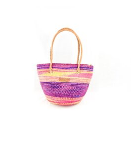 Purple Mix Padded Handle Sisal Handbag