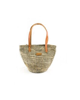 Cream and Black Patterned Sisal Handbag