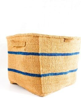 Nkatas Square Storage Baskets Nude with Blue Stripes