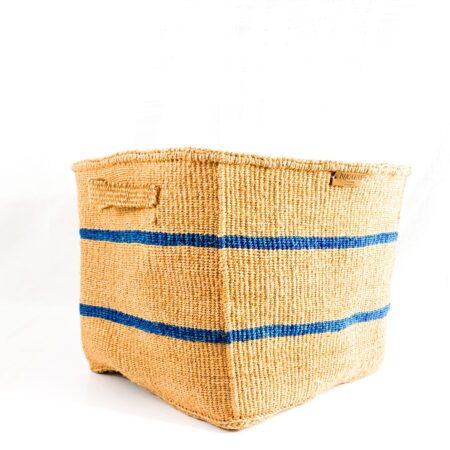 Nkatas Square Storage Baskets Nude with Blue Stripes