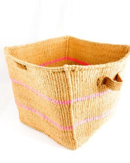 Nkatas Square Storage Basket Nude with Pink Stripes