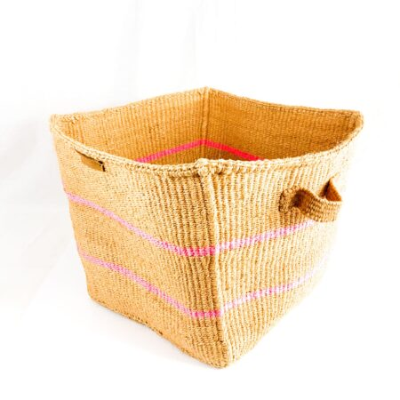 Nkatas Square Storage Basket Nude with Pink Stripes