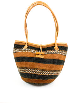 Baobab Brown and Black Stripe shopping Handbag