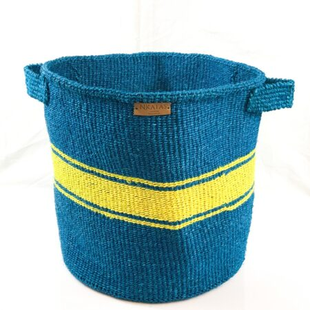 Round Turquoise and Yellow Laundry Basket