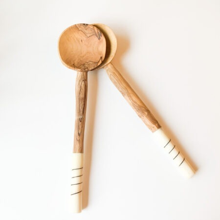 Olive White Wooden Spoons Servers