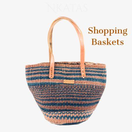 Navy and brown Kiondo Shopping Bag