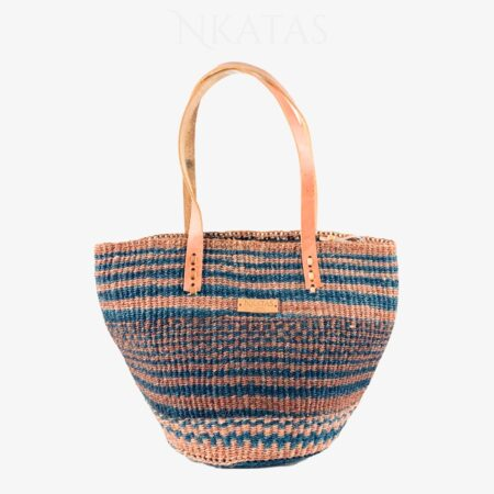 Navy and brown Kiondo Shopping Bag