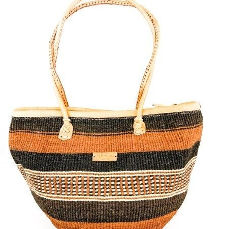 Baobab Brown and Black Stripe Handbag With a Zipper