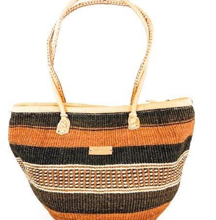 Baobab Brown and Black Stripe Handbag With a Zipper