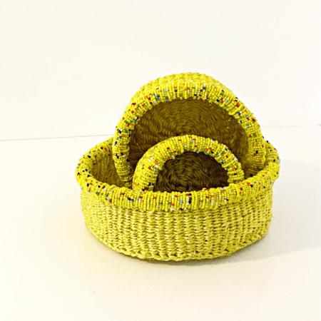 Yellow Set of Three Beaded Mini Baskets