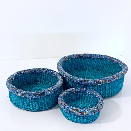 Blue Set of Three Beaded Mini Baskets